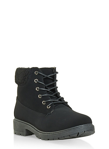 Sherpa Cuff Work Boots,BLACK,large