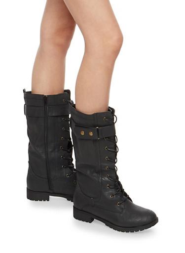 Lace Up Velcro Boots,BLACK,large