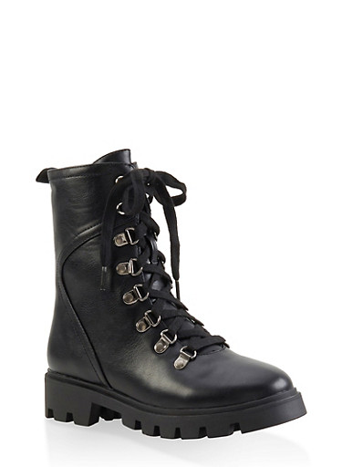 Lace Up Hiking Boots,BLACK,large