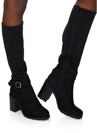 Buckle Detail High Heel Boots,BLACK SUEDE,large