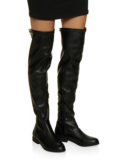Side Zip Over the Knee Boots,BLACK,large