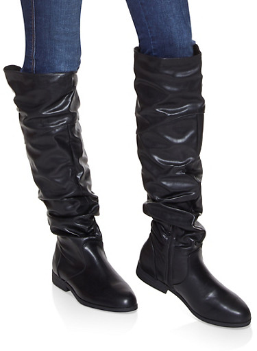 Tall Slouchy Riding Boots,BLACK,large