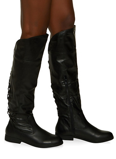 Tall Lace Up Back Boots,BLACK,large