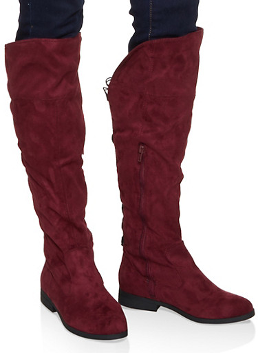 Tall Lace Up Back Boots,BURGUNDY,large