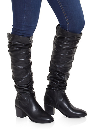 Ruched Tall Boots,BLACK,large