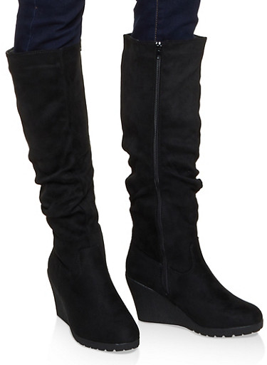 Tall Ruched Wedge Boots,BLACK SUEDE,large