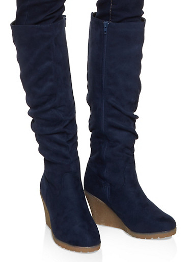 Tall Ruched Wedge Boots,NAVY S,large