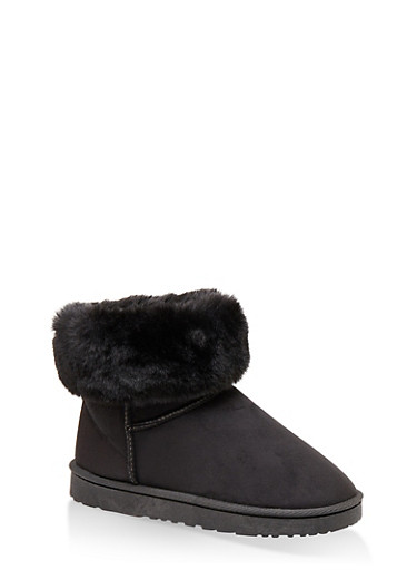 Faux Fur Collar Booties,BLACK,large