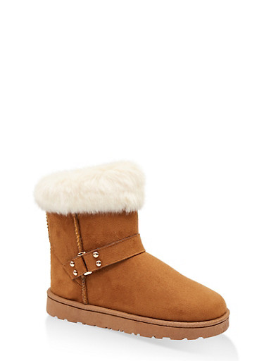 Faux Fur Cuff Buckled Booties,CAMEL,large