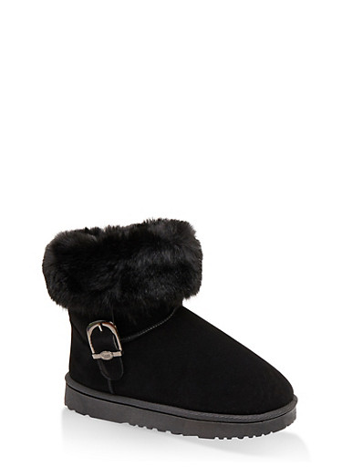 Buckle Detail Sherpa Lined Boots,BLACK,large