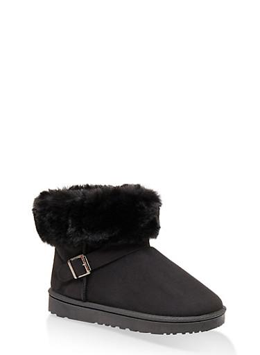 Faux Fur Cuff Buckle Detail Booties,BLACK,large