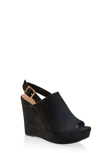 Platform Wedge Sandals,BLACK SUEDE,large