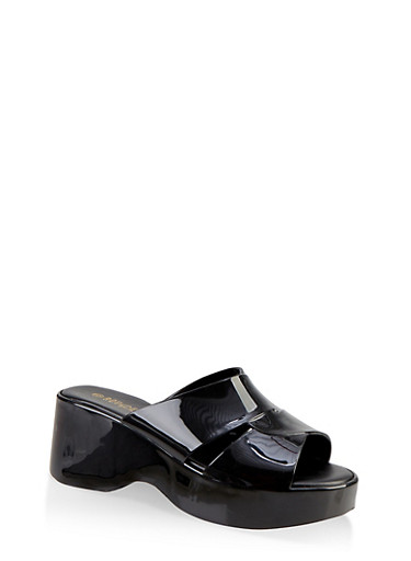 Jelly Platform Slide Sandals,BLACK,large
