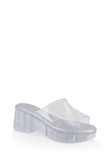 Jelly Platform Slide Sandals,CLEAR,large