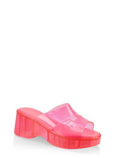 Jelly Platform Slide Sandals,NEON PINK,large