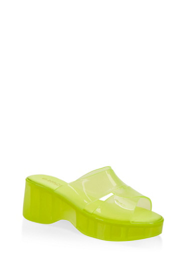 Jelly Platform Slide Sandals,NEON YELLOW,large