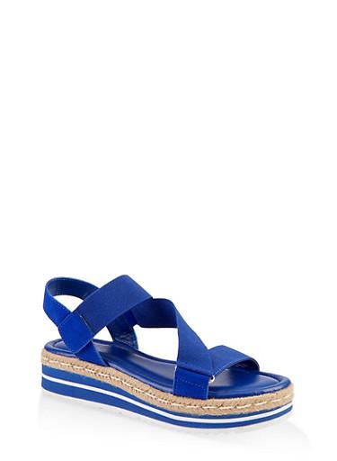 Asymmetrical Velcro Strap Platform Sandals,ELECTRIC BLUE,large