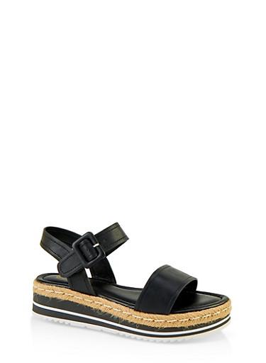 One Band Platform Espadrille Sandals,BLACK,large