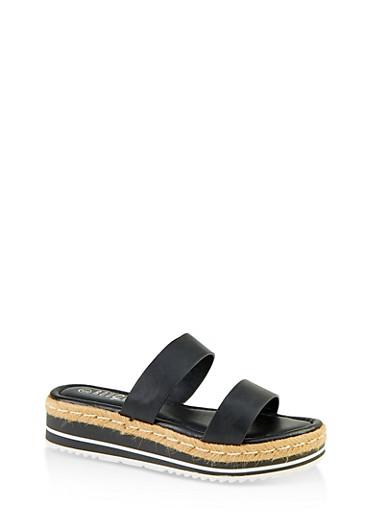 Two Band Espadrille Slide Sandals,BLACK,large