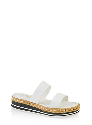 Two Band Espadrille Slide Sandals,WHITE,large