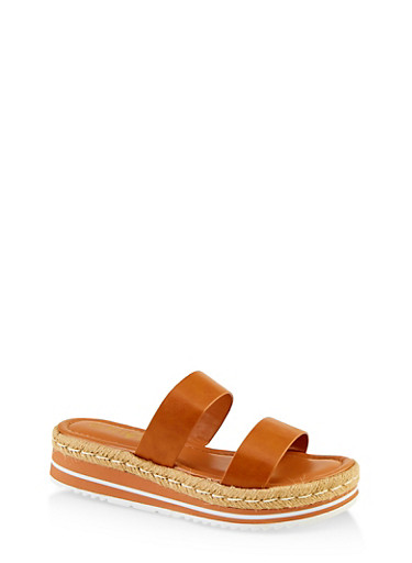 Two Band Espadrille Slide Sandals,TAN,large