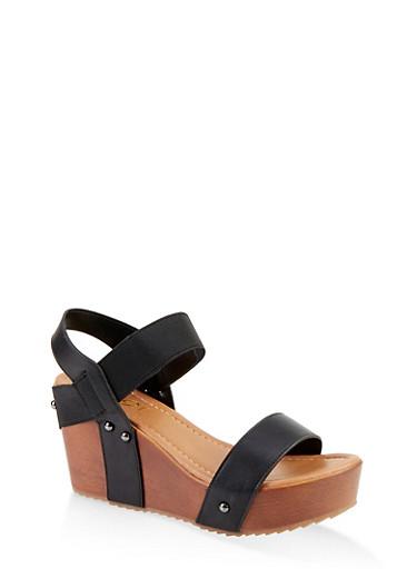 Wooden Wedge Sandals,BLACK,large