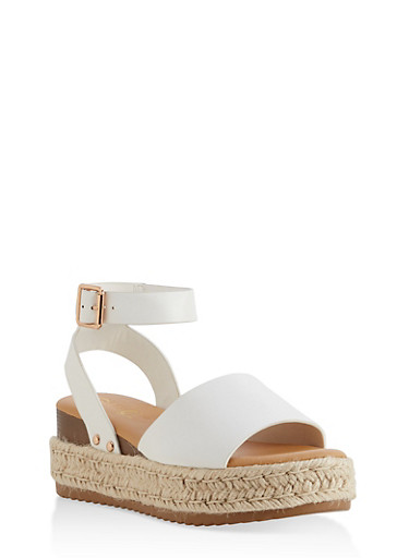 Platform Espadrille Sandals,WHITE,large