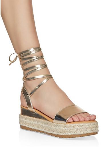 Lace Up Platform Sandals,GOLD,large