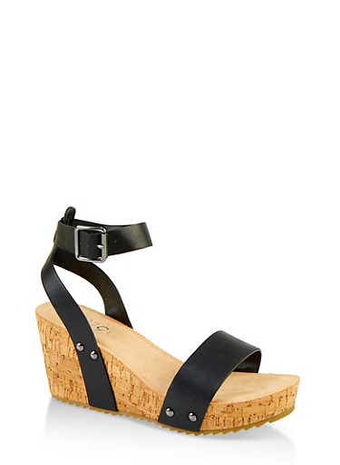 Ankle Strap Cork Wedge Sandals,BLACK,large