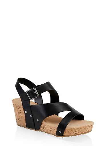 Asymmetrical Band Cork Wedge Sandals,BLACK,large