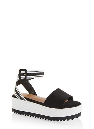 Striped Ankle Strap Platform Sandals,BLACK SUEDE,large