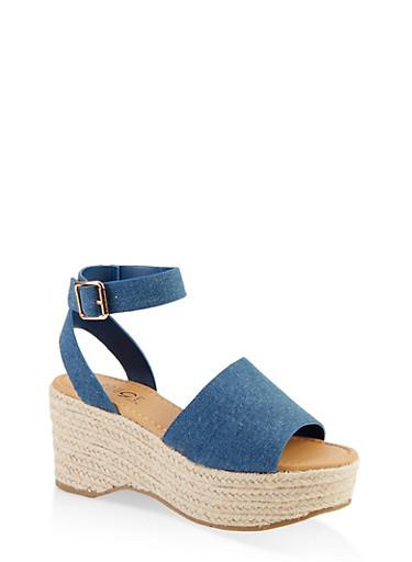 Ankle Strap Espadrille Sandals,DENIM,large