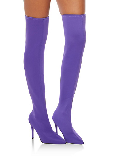 Purple Stretch Thigh High Boots,PURPLE LYC,large