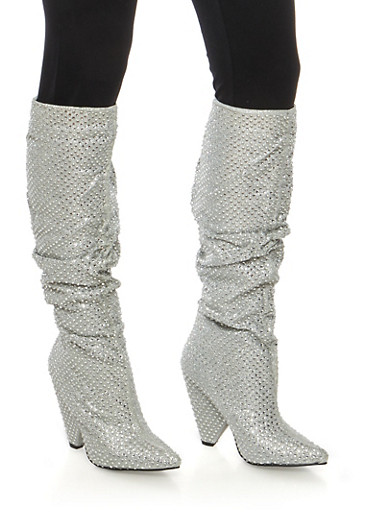 Rhinestone Studded Glitter Cone Heel Boots,SILVER,large