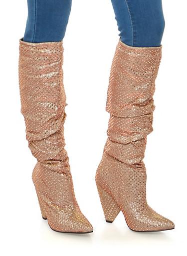 Rhinestone Studded Glitter Cone Heel Boots,ROSE GOLD,large