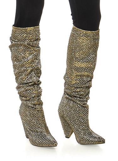Rhinestone Studded Glitter Cone Heel Boots,PEWTER,large