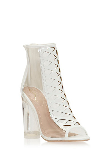 Clear Chunky Heel Peep Toe Booties with Caged Details,WHITE,large