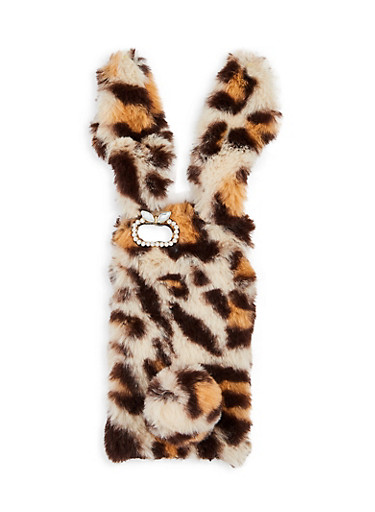 Leopard Bunny Ear iPhone Case,BROWN,large