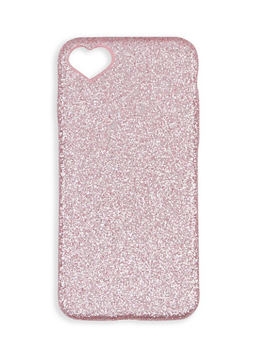 Heart Detail Glitter iPhone Case,ROSE,large