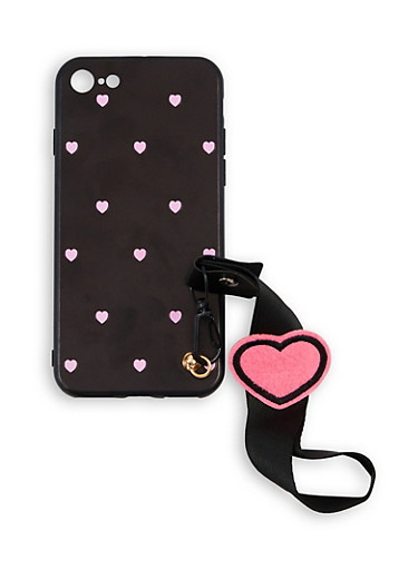 Heart Print Wrist Strap iPhone Case,NEON PINK,large