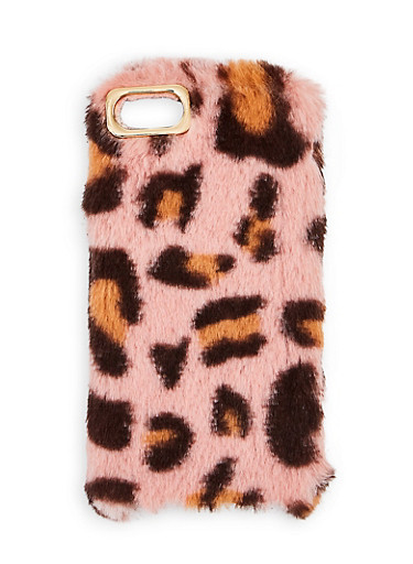 Leopard Faux Fur iPhone Case,PINK,large
