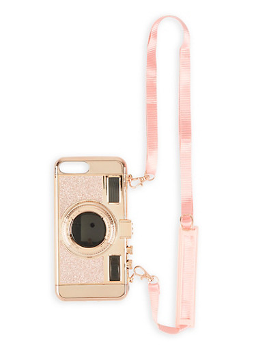 Glitter Camera iPhone Case with Strap,ROSE,large