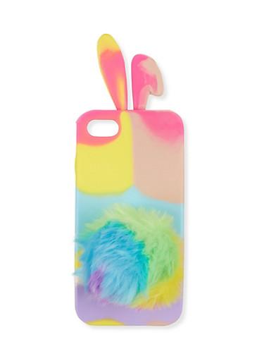 Bunny Pom Pom iPhone Case,MULTI COLOR,large