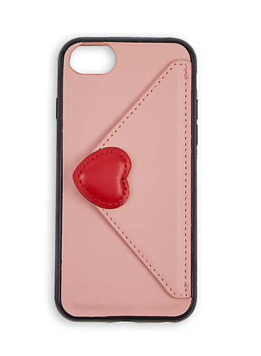 Faux Leather Envelope Wallet iPhone Case,BLUSH,large