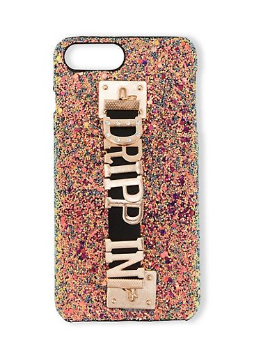 Drippin Graphic Strap Glitter iPhone Case,BLACK,large
