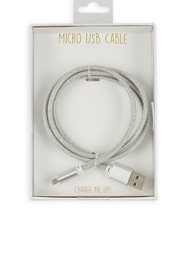 Glitter Micro USB Cable,SILVER,large