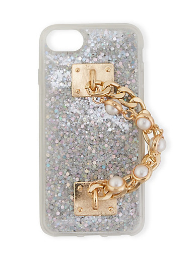 Faux Pearl Chain Glitter Phone Case,SILVER,large