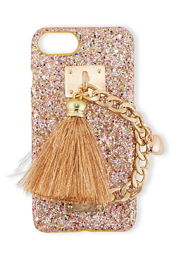 Chain Tassel Glitter Phone Case,ROSE,large