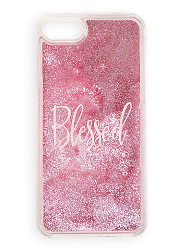 Blessed Glitter Waterfall iPhone Case,PINK,large