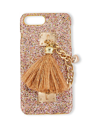 Glitter Tassel Chain Phone Case,ROSE,large